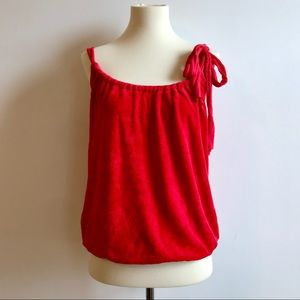 EUC Ella Moss Red Terrycloth Tank with Tie Detail